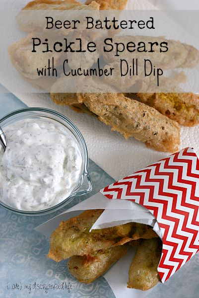 Beer Battered Pickle Spears with Cucumber Dill Dip - {i love} my disorganized life