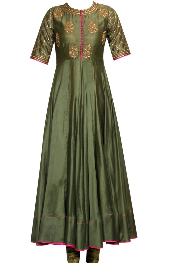 Olive green embroidered anarkali set available only at Pernia's Pop Up Shop.