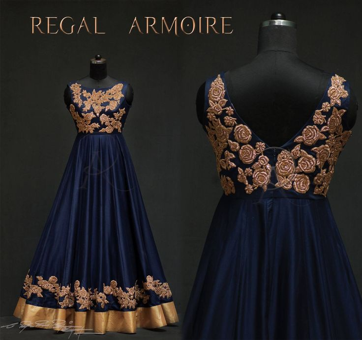 A Fabulous long gown from the inspiration  glittery midnight roses . An outfit that is kissed by the midnight blue and embellished by the glittery roses to Enlighten you.  19 August 2017