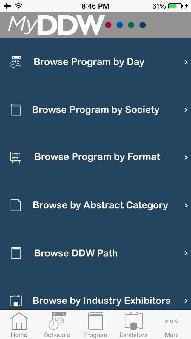 DDW 2015 NOW screen for iOS devices in the EventPilot Conference App.