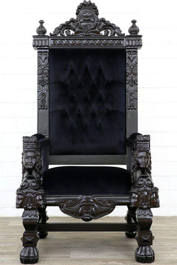 Trone Fauteuil Royal Baroque 174cm En Acajou Velours Noir Prince Roi Gothic Home Decor Luxury Home Decor Gothic House