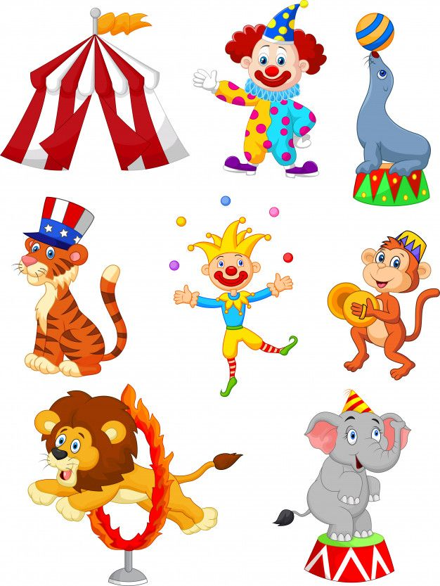 Cartoon Set Of Cute Circus Themed Illustration Circus Characters Cartoon Circus Theme