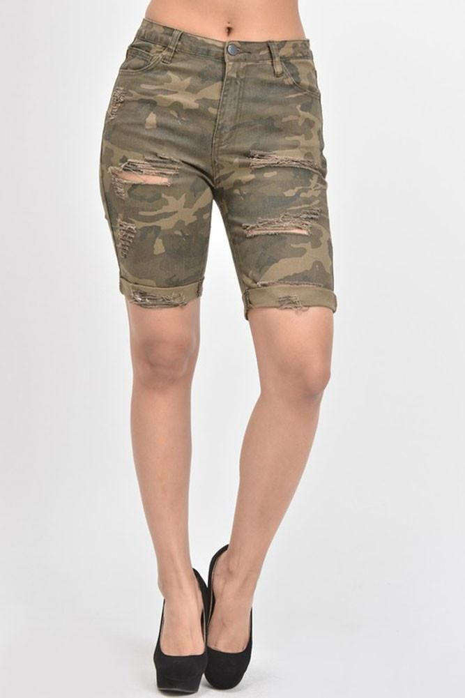 Women's Destroyed Skinny Shorts RSS394 - D7B