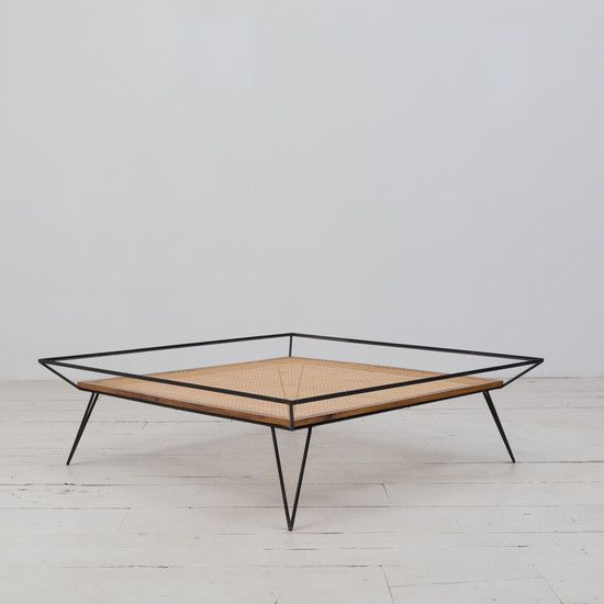 Very rare vintage coffee table designed by Martin Eisler and Carlo Hauner in the 1950's. Iron base structure, solid Caviuna wood, and natural cane. Available at ESPASSO.