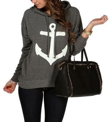 Charcoal/White Anchor Sweatshirt