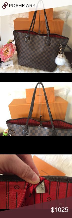Authentic Louis Vuitton Neverfull MM Excellent condition. No tears or cracks on canvas. Has some rubbing on the trim. Wrinkles on strap. Inside has some stain pen marks. Rub and scuff on corners. White marks on the canvas. Pocket has small peeling. Louis Vuitton Bags Shoulder Bags
