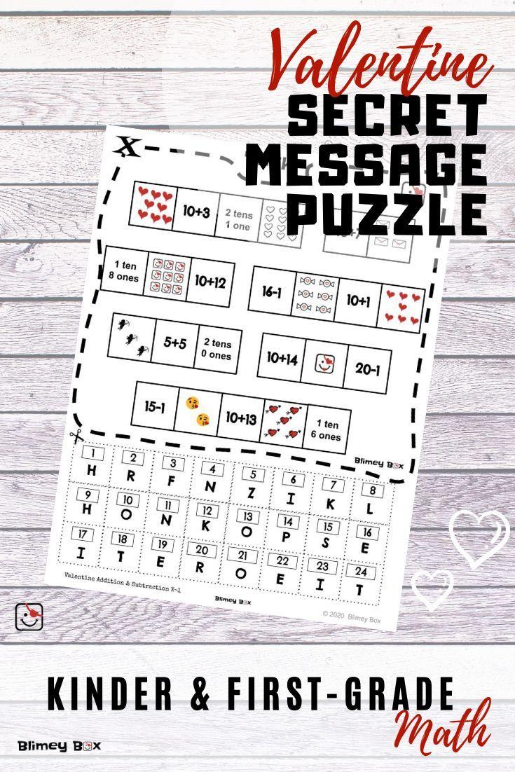 Valentine Secret Message Puzzle Decode With Math Valentine Math Kindergarten Valentine Math Activities Math Valentines [ 1102 x 735 Pixel ]