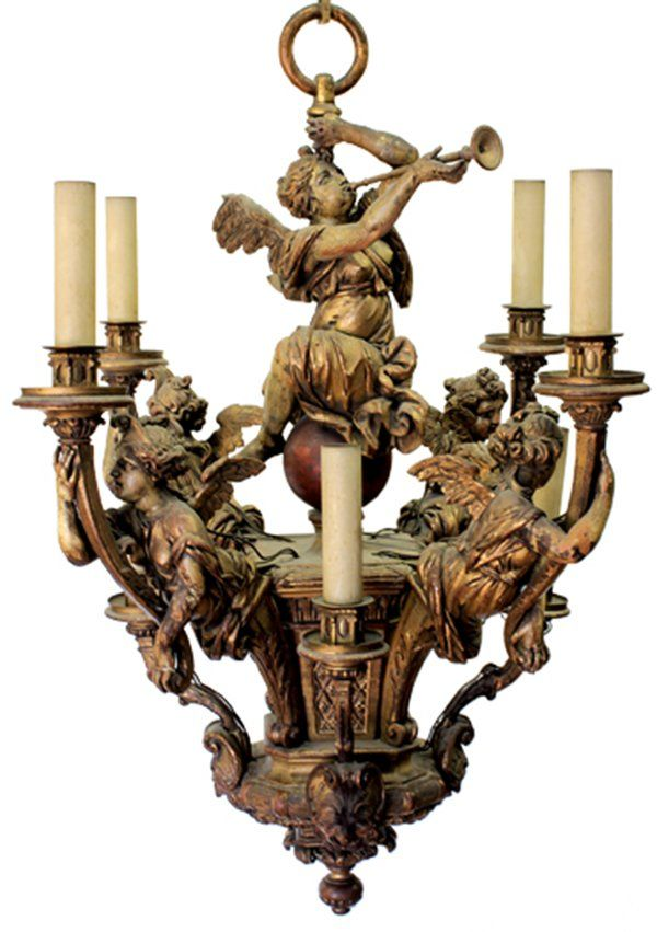 Italian giltwood carved chandelier, 18th century