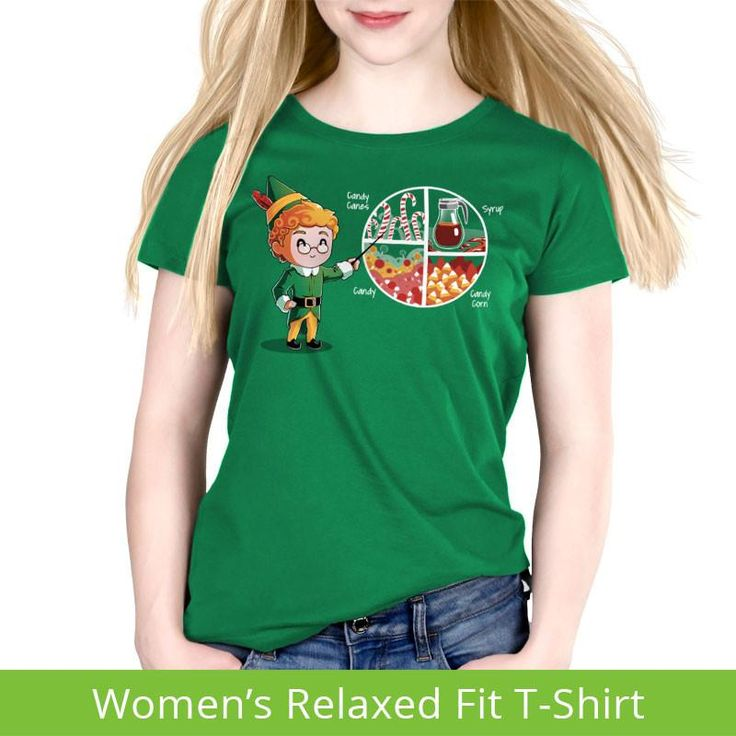 Four Main Food Groups Women's Relaxed T-Shirt Model Elf TeeTurtle. (Also available on other styles and colors). #elftee #elftshirt #elfshirt #christmasshirt #elf