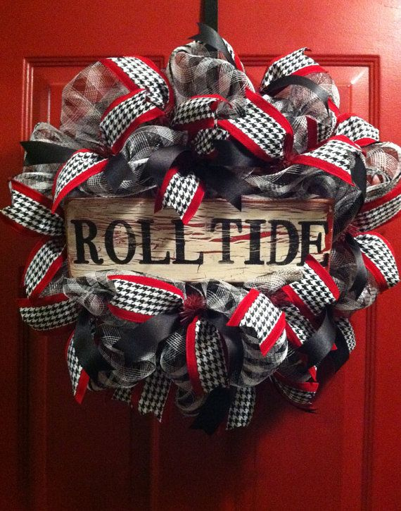 Alabama Football Houndstooth Wreath, Alabama Football, College Football, SEC, Bama, Roll Tide on Etsy, $58.00