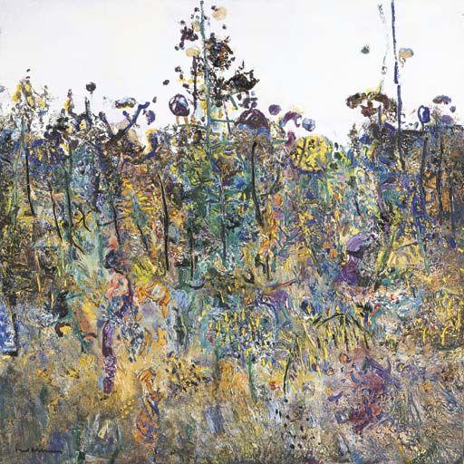 Fred Williamsm St Andrews (The Botanist's Garden), Oil on canvas, 101.5 x 101.5 cm