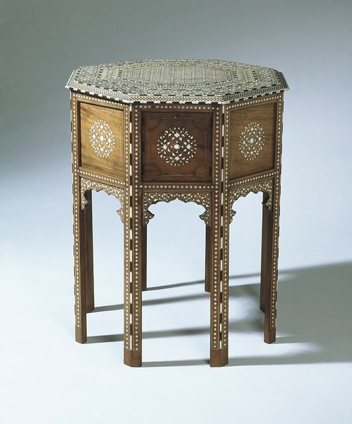 Table        Place of origin:        Hoshiarpur, India (made)      Date:        ca. 1880 (made)      Artist/Maker:        Unknown (production)      Materials and Techniques:        Shisham wood, inlaid with ivory and ebony