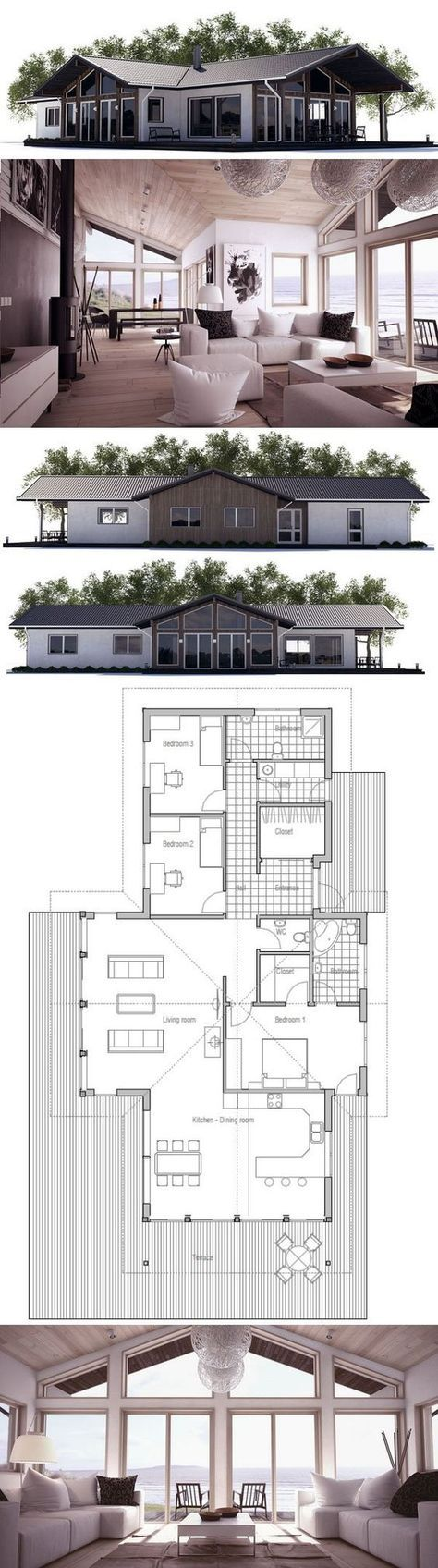 20 best t shaped houses plans images on pinterest small house plan with three bedrooms and open planning floor plan from concepthome