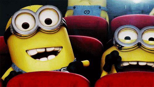 Minions watching a movie