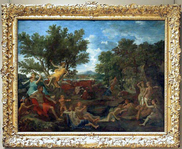 Nicolas POUSSIN Les Andelys, 1594 - Rome, 1665  Apollon amoureux de Daphné  1664  H. : 1,55 m. ; L. : 2 m.  Berné par Mercure qui lui vole ses flèches, déçu dans son amour envers Daphné qui s'est réfugiée dans les bras de son père, malheureux dans son amitié avec Hyacinte qu'il a lui-même tué et dont le corps gît sous les arbres, Apollon est cependant serein au milieu du royaume qu'il a créé.