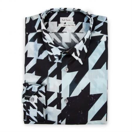Paul Smith Men's Shirts - Black Split Scale Houndstooth Print Shirt
