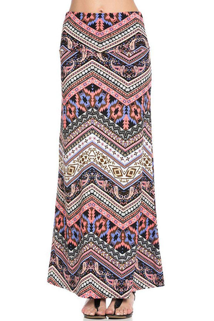Pink Purple Tribal Aztec Printed Maxi Skirt
