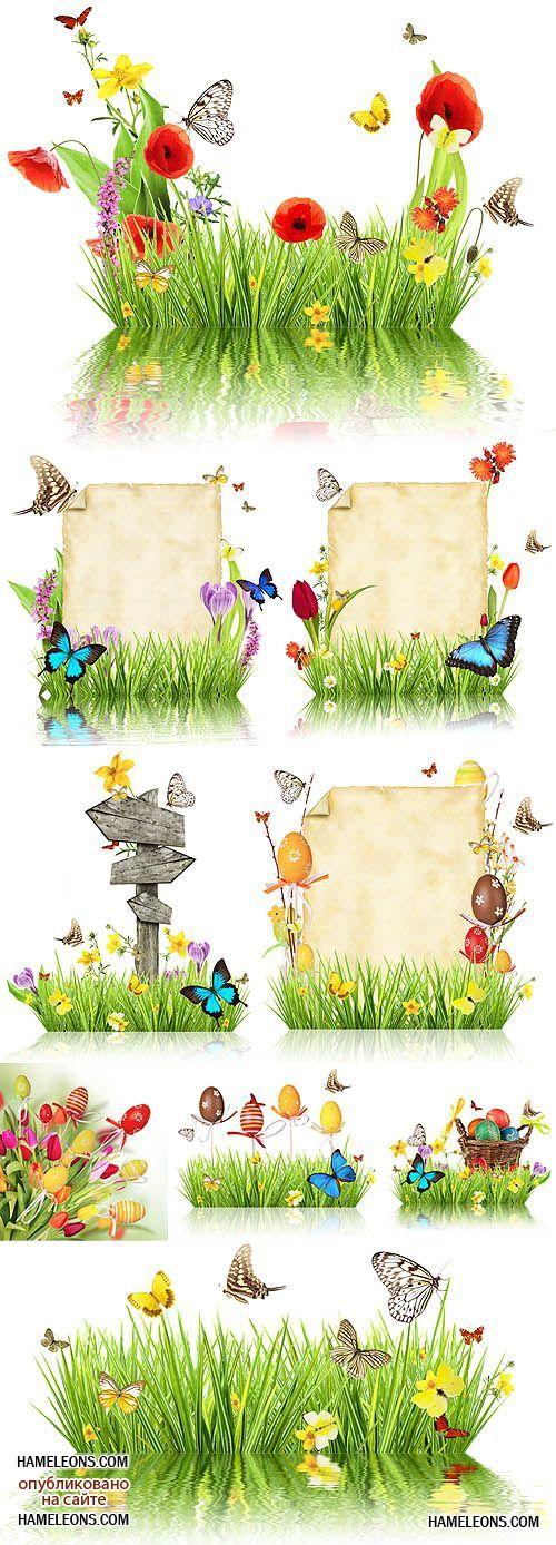 Зеленая трава, цветы, бабочки - весенний и пасхальный ...