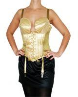 Maskeradkläder för fest och maskerad. 80-tals fest, Hollywood eller kändisfest. I denna guldfärgade Madonna-korsett blir du en knockout på festen och vi garanterar att du syns i vimmlet.