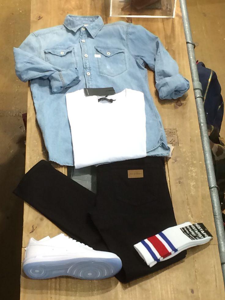 G-Star denim shirt - samsøe samsøe tee - just junkies jeans - hist and pist socks and Nike air force one shoes
