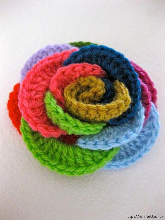 Rainbow broche de roseta.  Ganchillo (2) (525x700, 302Kb)