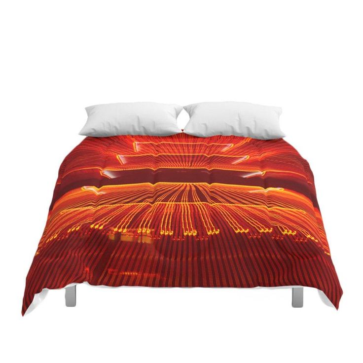 Abstract Reading Pagoda at Night on Bedding – Comforters – Duvet Covers – Pillow Sham Sets – Bedroom Decor Red Yellow Orange