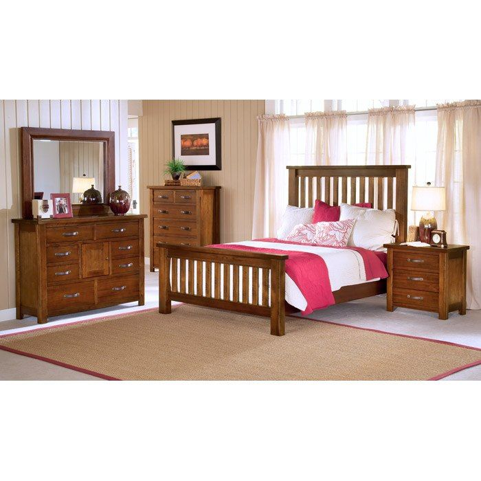 outback mission style bedroom set in distressed chestnut