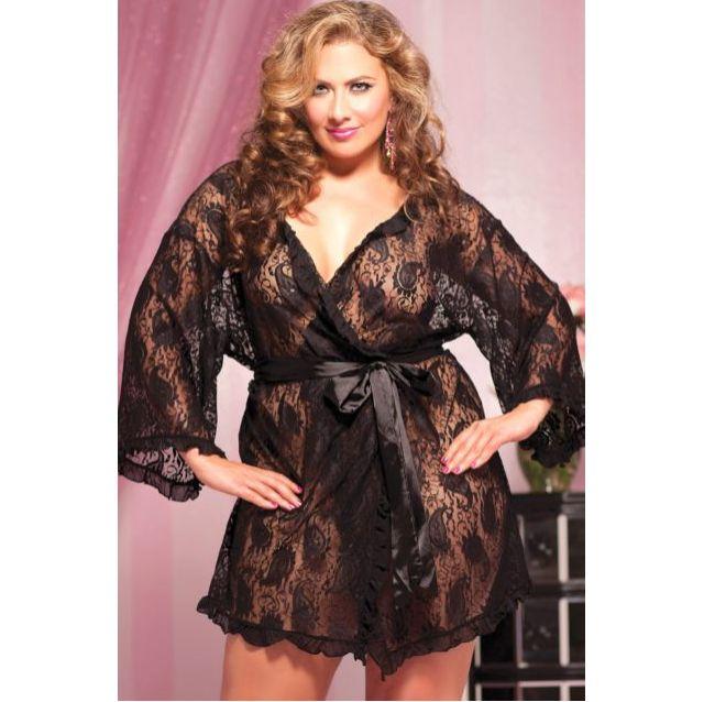 Plus Size Lace Robe - Plus Size Lingerie Boutique