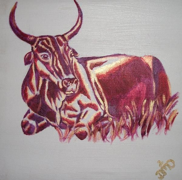 Minos ~ Block Mounted and Wooden Framed Oil Painting by Dawn Du Preez #DawnDuPreez