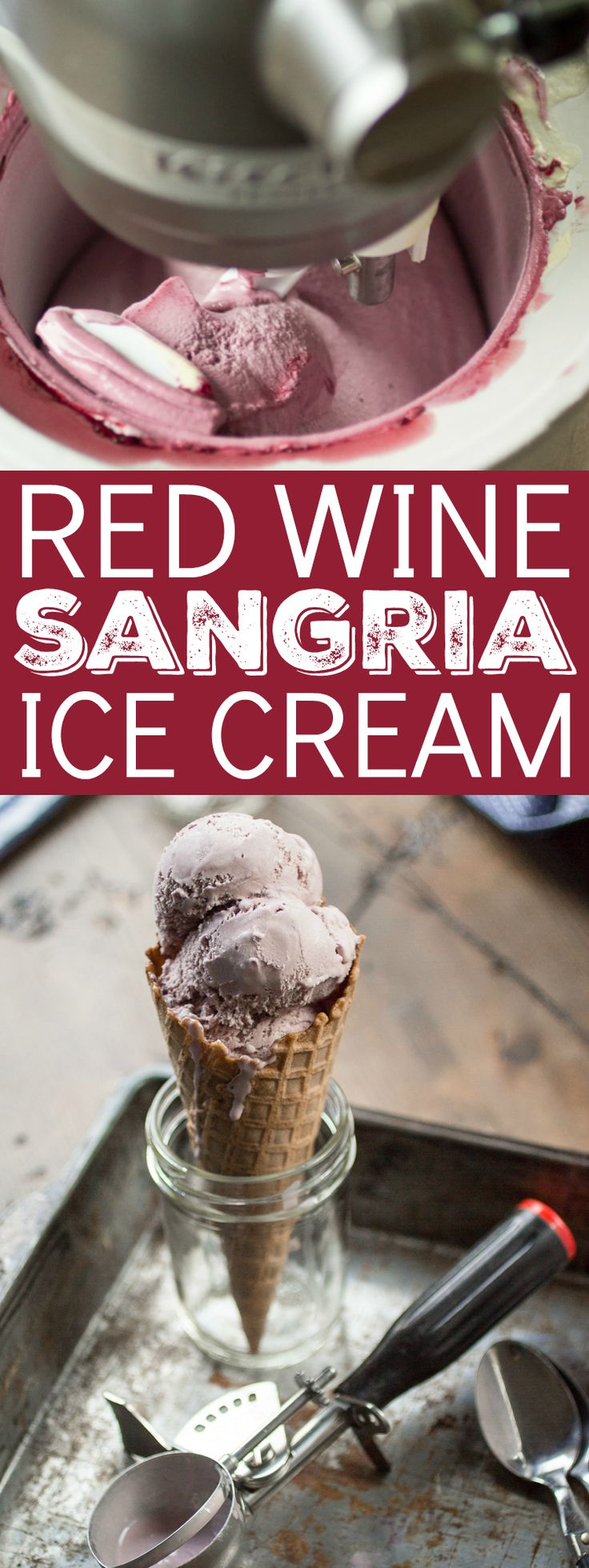 Red wine, Cointreau, and Blackberries add a burst of flavor to this delicious Sangria Ice Cream!