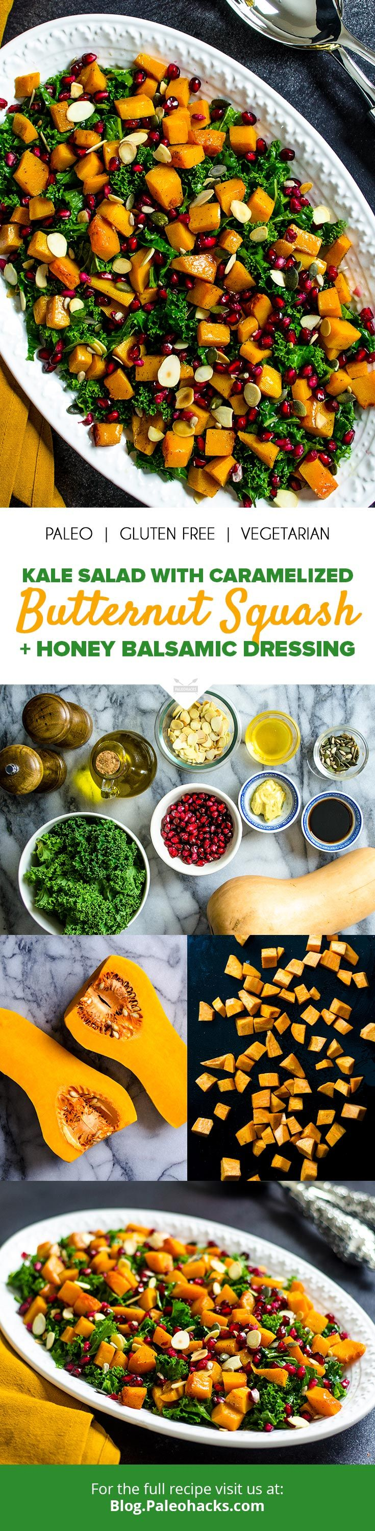 Tender kale greens get tossed with caramelized butternut squash for a hearty salad filled with nourishing ingredients. Get the full recipe here: http://paleo.co/kalesquashsalad