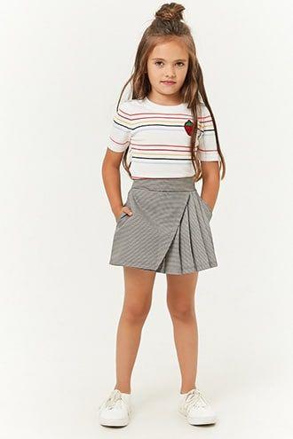 Girls Houndstooth Mock Wrap Skirt (Kids)