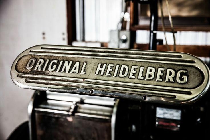 An original Heidelberg press in the Artforme studio, ready to create beautiful letterpress printing.