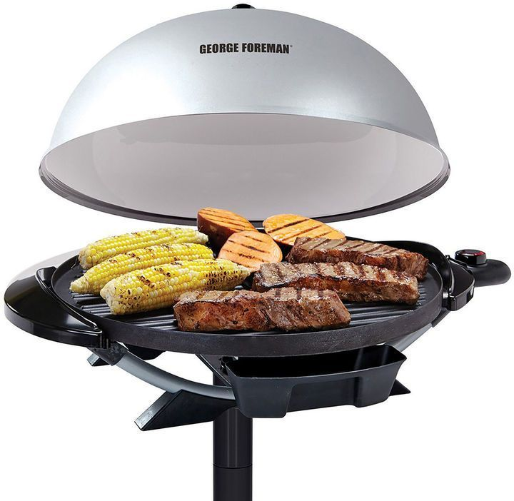 George Foreman 12+ Serving Indoor/Outdoor Electric Grill: Use  this grill to make a delicious family dinner or move it outdoors for a  classic backyard barbecue, its fully electric, so you'll get high-quality  grilling with no charcoal, no propane and no