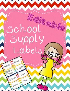 Cute and EDITABLE colorful chevron school supply labels. Ive already typed these items into the labels. If you dont need something that I typed, or if you need multiples of a certain labeljust change (edit) my text. I also included a blank page for you.