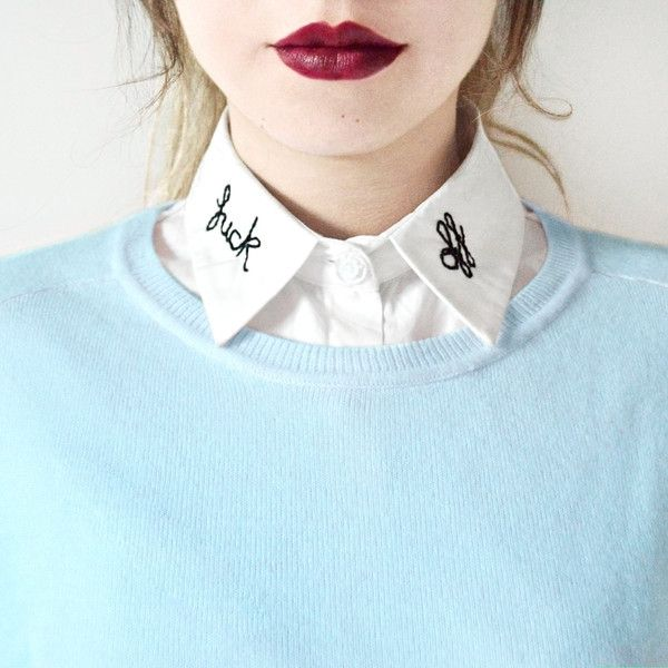 F*ck Off Detachable Embroidered Peter Pan Lapel Fake Collar/Half Shirt... ($36) ❤ liked on Polyvore featuring tops, shirt top, blue embroidered top, faux collar shirt, peter pan shirt and blue shirt