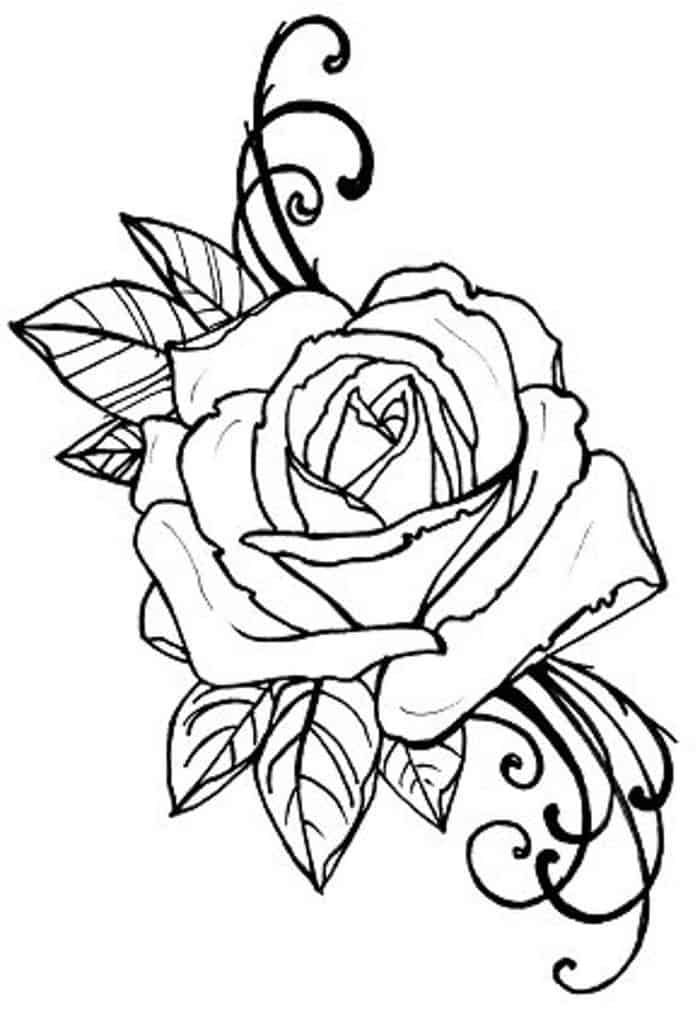 Rose Printable Coloring Pages In 2020 Rose Tattoos Rose Drawing Tattoo Tattoo Coloring Book