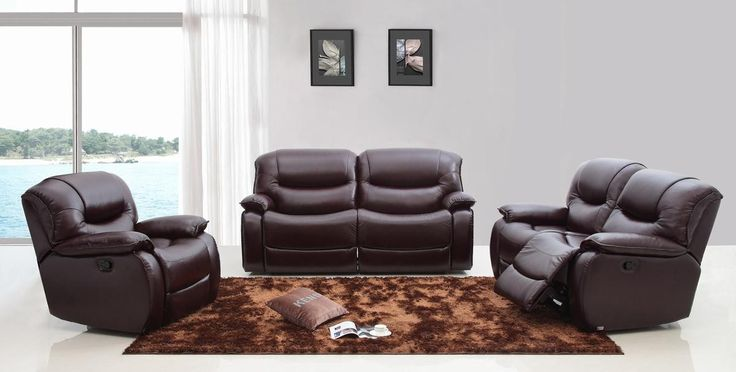 Divani Casa E9023 Modern Brown Italian Leather Sofa Set W/ Electronic Recliners