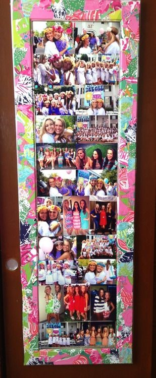 Taking an old mirror- covering it with pictures, and using wrapping paper or Lilly agenda scraps to cover the edges. Love this!
