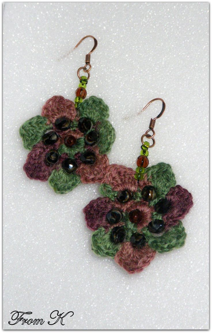 #Crochet #Flower #Dangle #Earrings in #boho style. Very attractive and colorful. Hand crochet with a fine wool/acrylic thread (green and shades of brown), decorated with Czech bead crystals. They create a super cute accessory to any outfit! Very light weight. 3cm long. ECO32 20.00 RON  For more photos, prices and other info, please visit my facebook page https://www.facebook.com/BeadsFromK/photos/