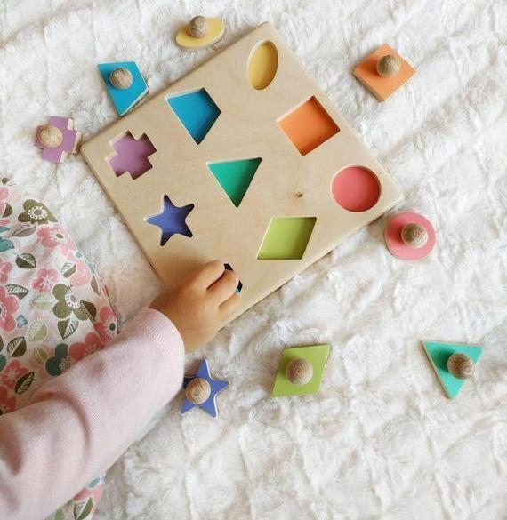 Wooden Geometric Puzzle / Montessori Educational P…