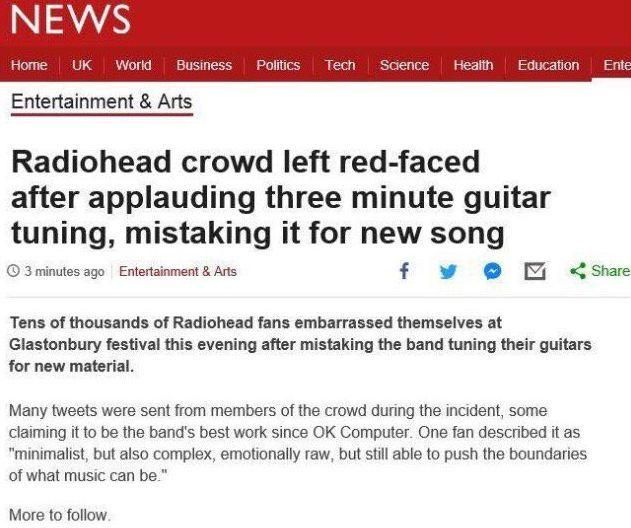 This is FAKE, but it is the sort of thing hardcore Radiohead fans would do.