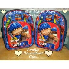Lovely and Personalised Mike the Knight backpack £9.00 plus p+p (Personalised with fabric paint and covered in a fixing solution)