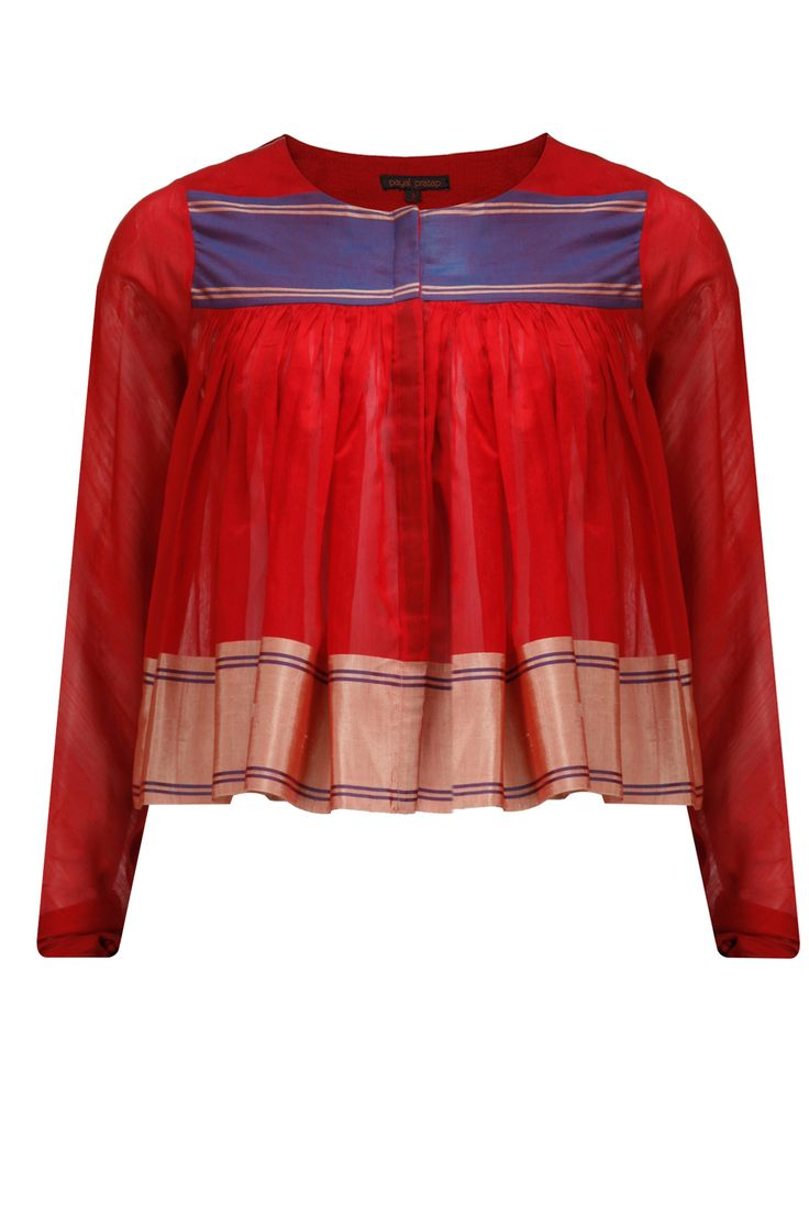 Venetian red chanderi pleated peplum top available only at Pernia's Pop-Up Shop.