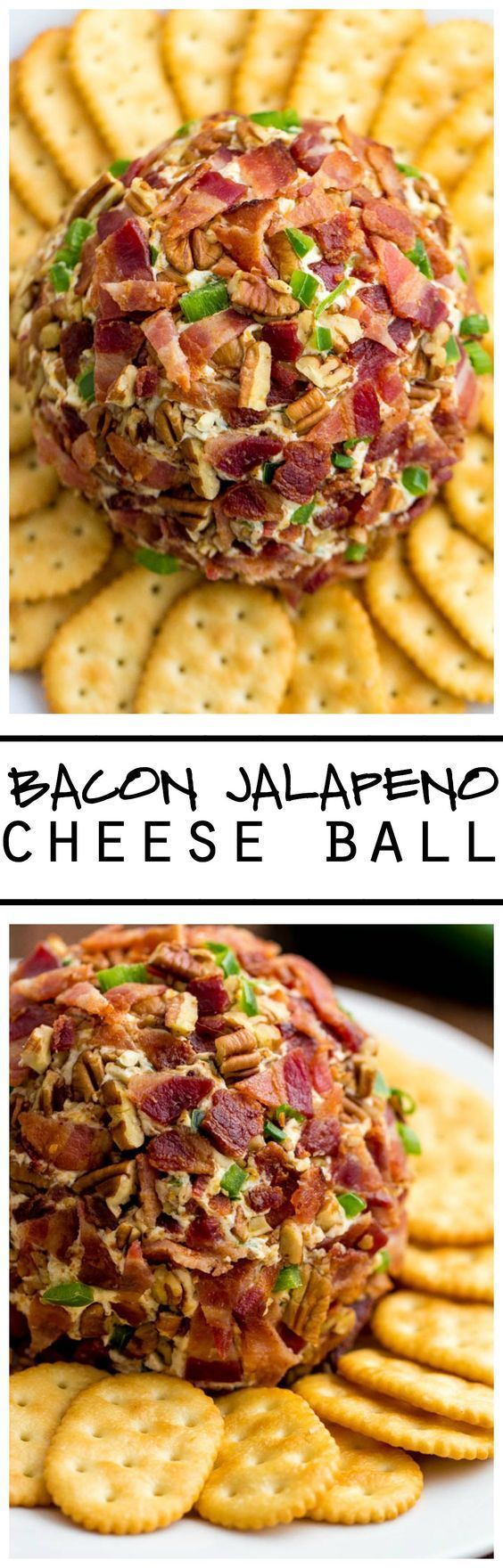 This Bacon Jalapeño Cheese Ball is the BEST thing ever! Loaded with amazing ingredients and then coated in bacon and jalapeños this is a crowd pleaser!