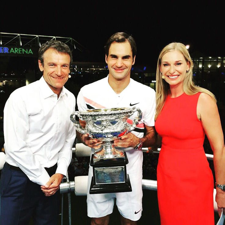 "Barbara Schett-Eagle on Twitter: ""@rogerfederer and his @AustralianOpen trophy🏆 Pure adrenaline in our @Eurosport studio!!!… """