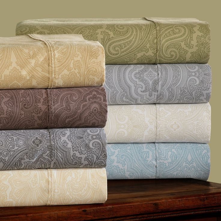Impressions Cotton Rich 600TC Italian Paisley Sheet Set | from hayneedle.com blue or grey $77