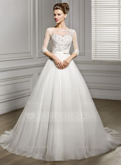 It comes in a lovely cream color. The kind of understated that I love. A-Line/Princess Scoop Neck Court Train Satin Tulle Wedding Dress With Beading Appliques Lace Sequins Bow(s) (002056956)