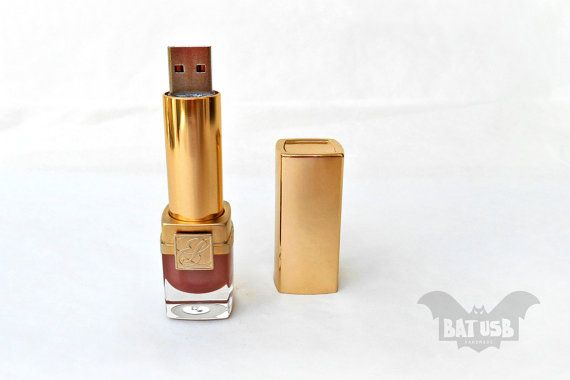 BAT™ 16GB USB flash drive  Memory Stick. The usb comes out as you turn the lipstick tube and hides the same way. As a real lipstick!! Product Dimensions 7.5cm Height x 2.2cm Diameter by Think4HandmadeArt 69.95$