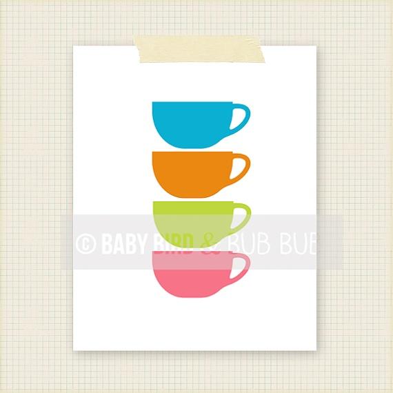 Coffee Cups Kitchen Art  Home Art  Custom by BabyBirdandBubBub, $15.00